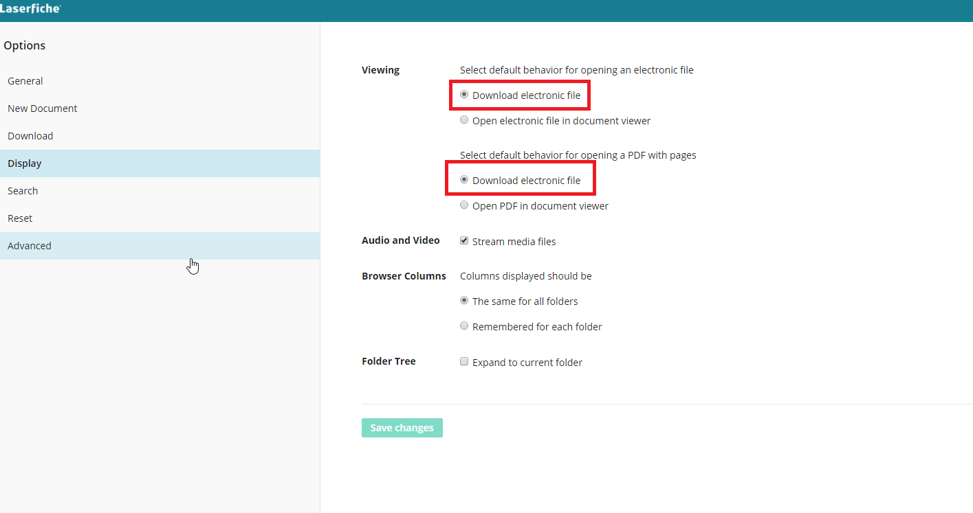 Default Display Settings For All Webaccess Users