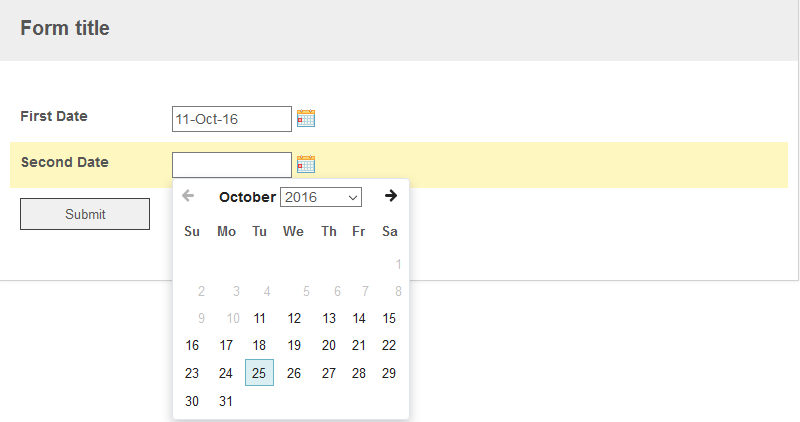 How to restrict date picker selection based on the entry in another
