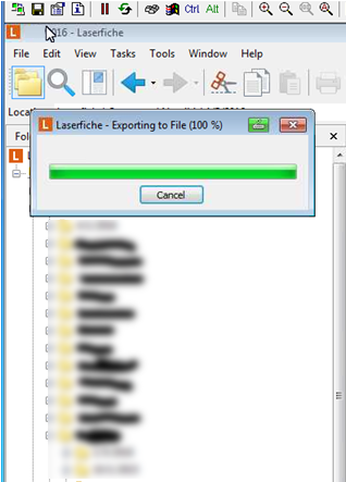 Sending scanned documents in Laserfiche stuck on 100% and not able