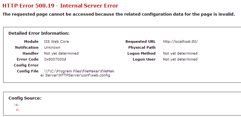 error while performing operation web config in Web Access