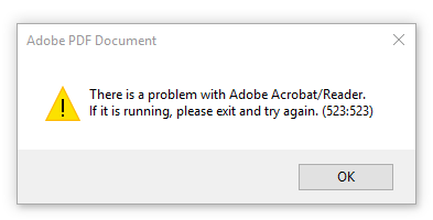 Image result for Acrobat Reader Error 523
