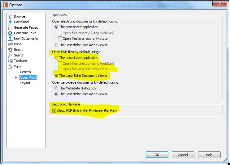 PDF's are previewing using Adobe Acrobat rather than Laserfiche
