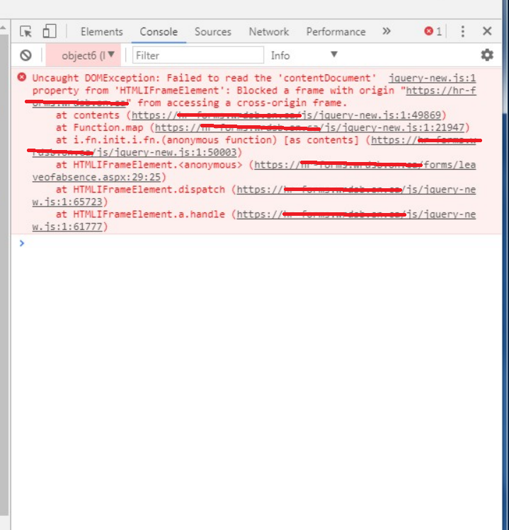 Jquery Error: Blocked a frame with origin from accessing a cross ...