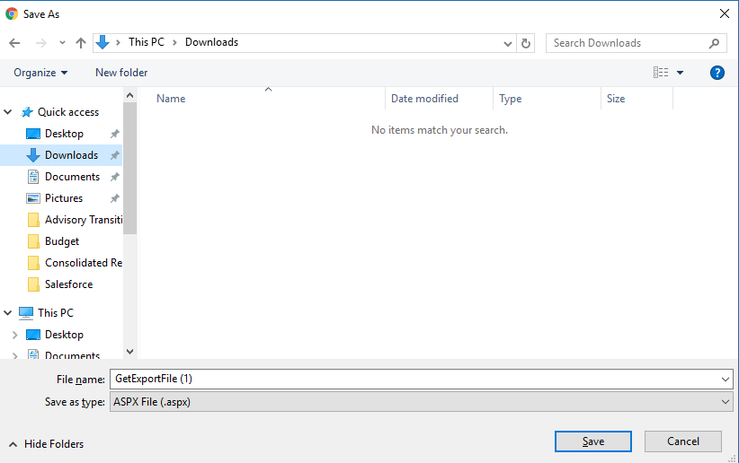 Web Access - Large PDFs - Export results is  aspx file