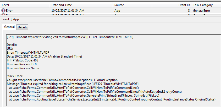 329]: Timeout expired for exiting call to wkhtmltopdf exe
