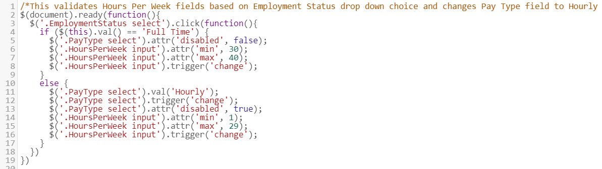 JavaScript to Validate a Number Range Based on a Drop-down Field