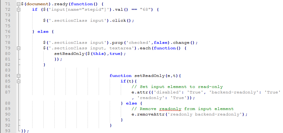 remove readonly attribute javascript