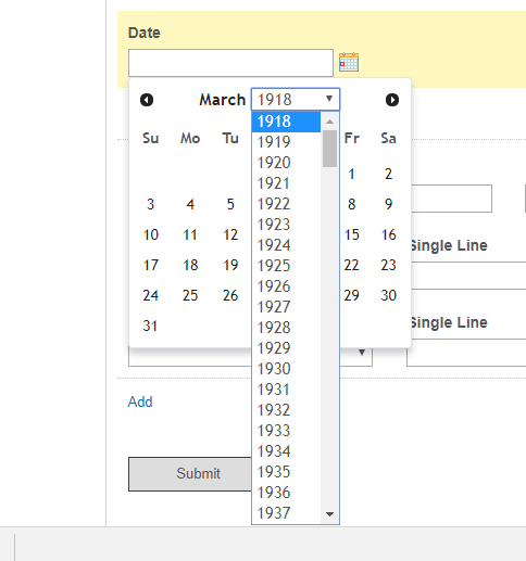 date picker to extend range longer than 100 year