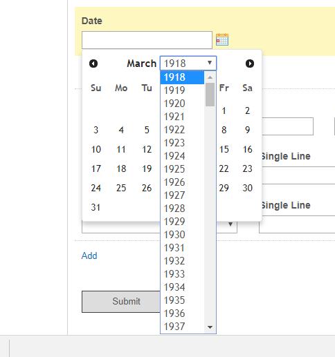 date picker to extend range longer than 100 year
