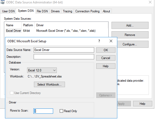 Write data to Excel Spreadsheet - ERROR [HY000] [Microsoft][ODBC