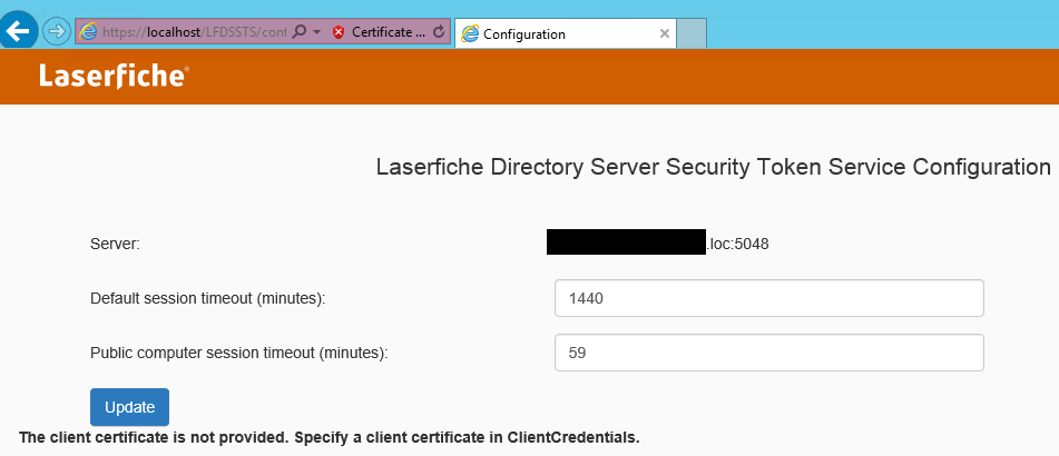 Forms STS error - Laserfiche Answers