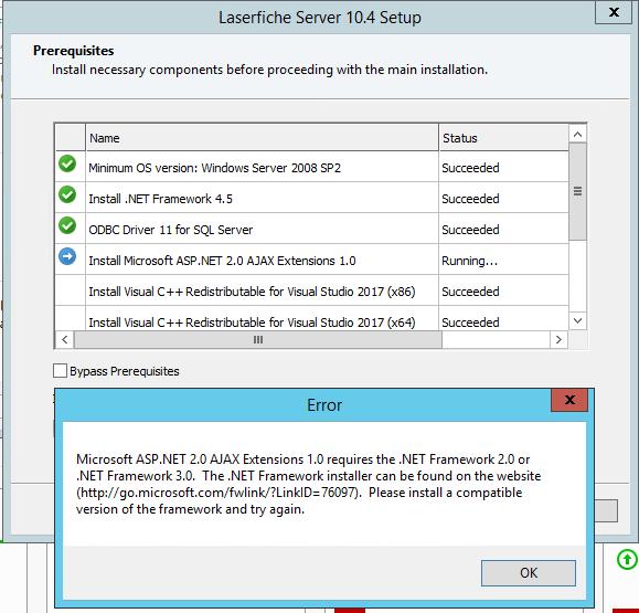 10 4 install - prerequisites failed (Microsoft ASP NET 2 0 AJAX
