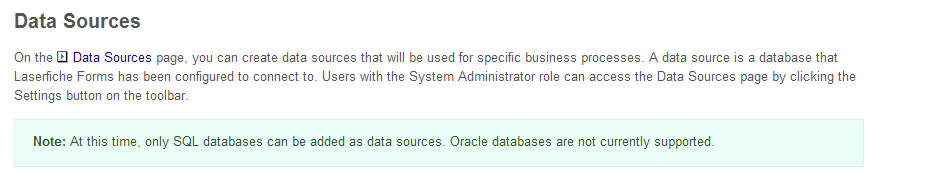 Laserfiche Forms Table Oracle Data Lookup Support