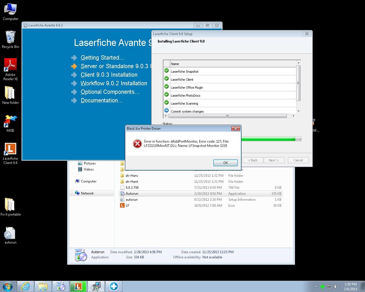 Snapshot install error with windows 7 x64 only - Laserfiche