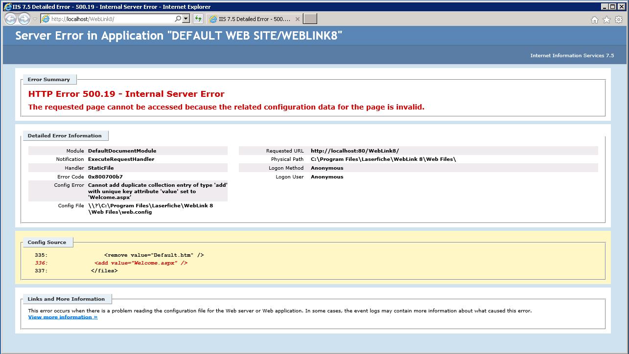 Weblink HTTP error 500 19/Object reference error