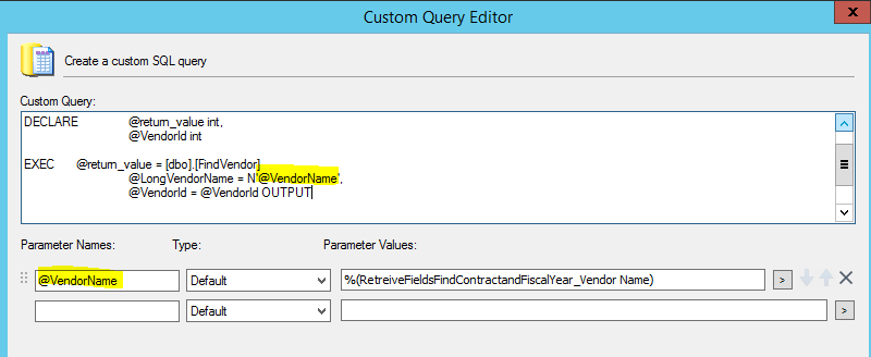 Custom Query running stored procedure not inserting records
