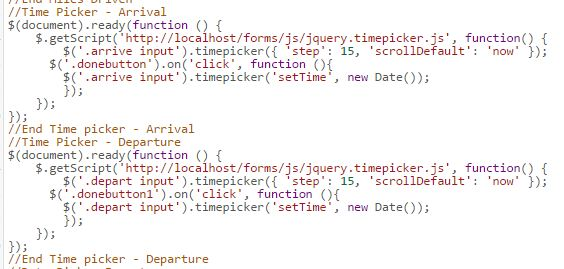 Javascript for a collection using TimePIcker - Laserfiche