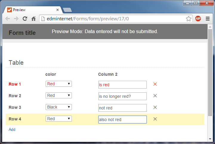 Within a table, change color of row based on drop-down field