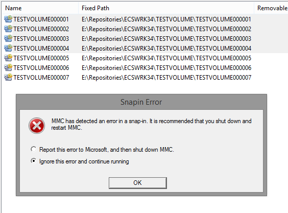 MMC has detected an error in a snap-in