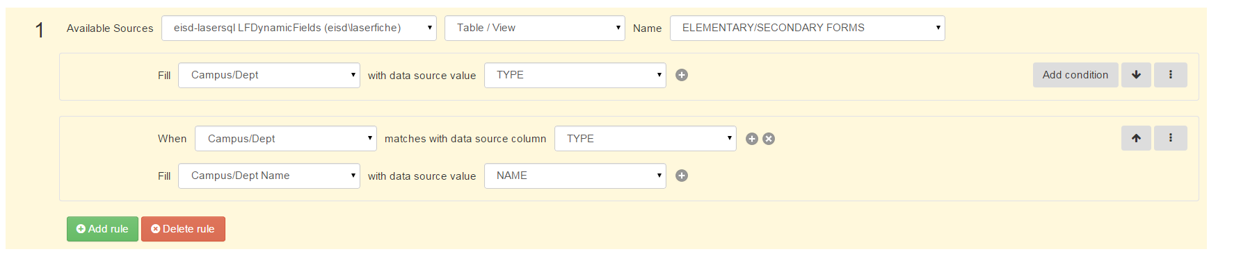 why doesn't lookup rules work with data table? - Laserfiche