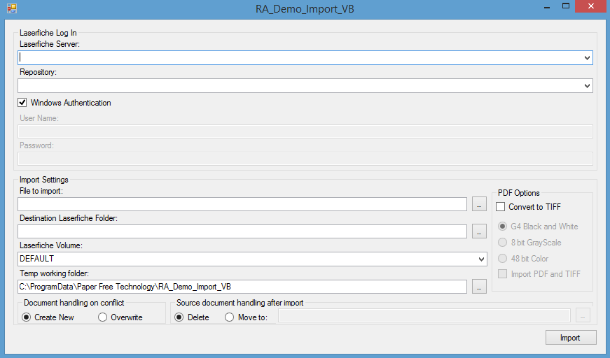 RA_Demo_Import_VB 2010 project - Laserfiche Answers