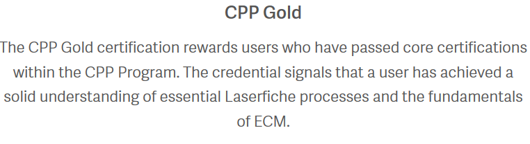 Laserfiche CPP Gold Certification - Laserfiche Answers